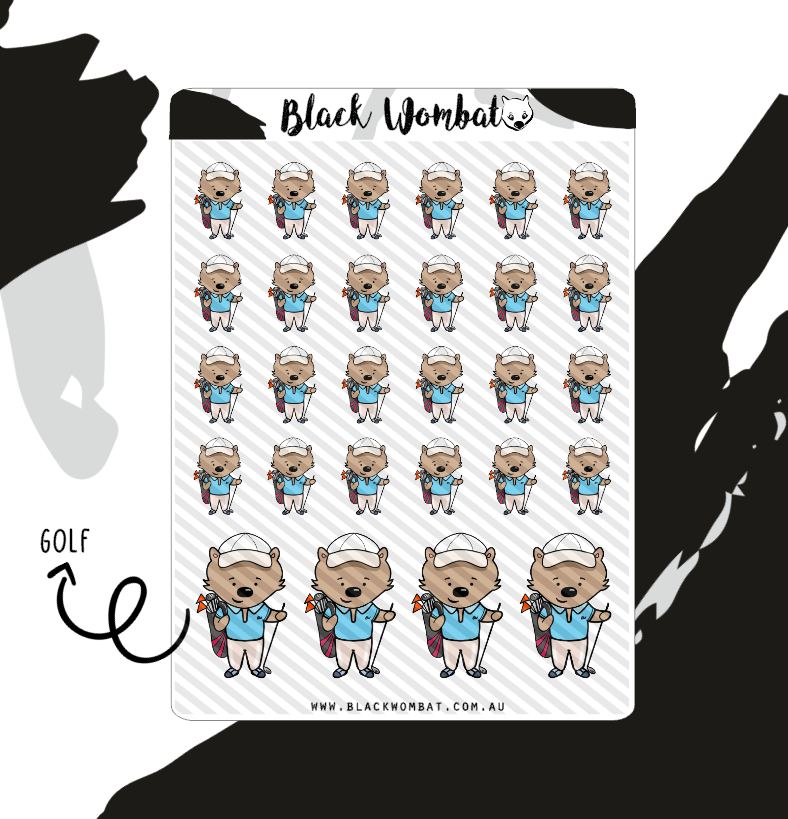 Golf Wombat Planner Stickers