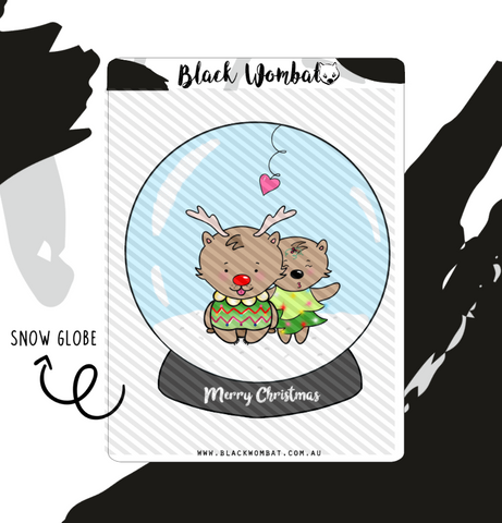 Christmas Snow Globe Wombat Planner Stickers