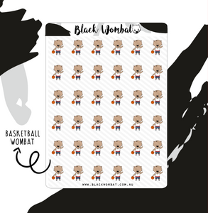 Basketball Wombat Planner Stickers
