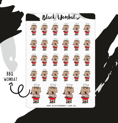 BBQ, Grilling Wombats Planner Stickers