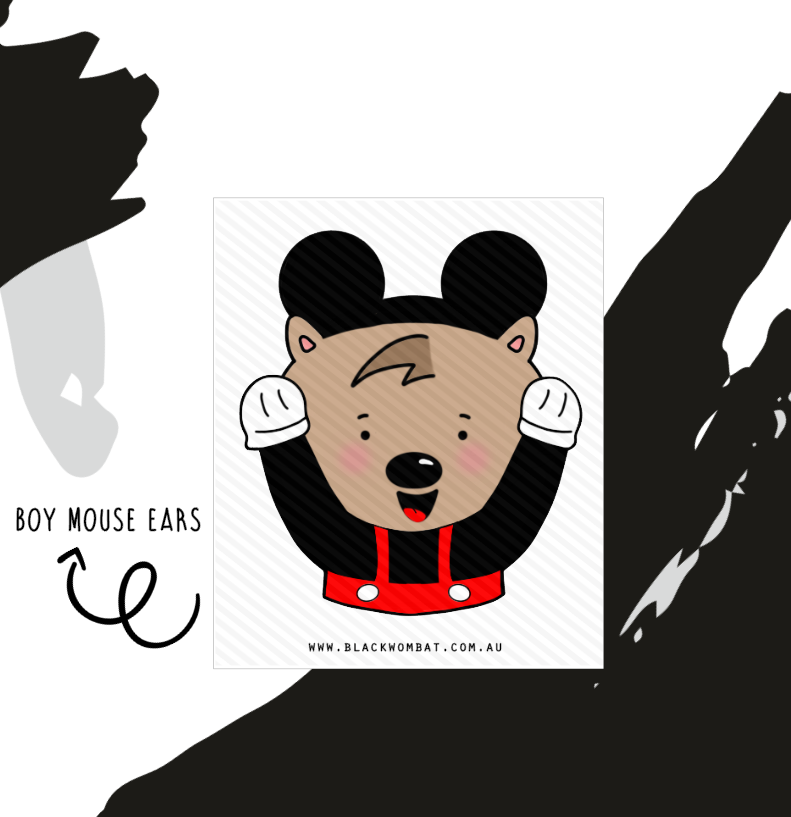 Boy Mouse Ears Big Sticker Wombat / Die Cut