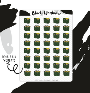 Double Bin Day Wombat Planner Stickers