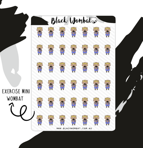 Exercise Wombat Mini Planner Stickers