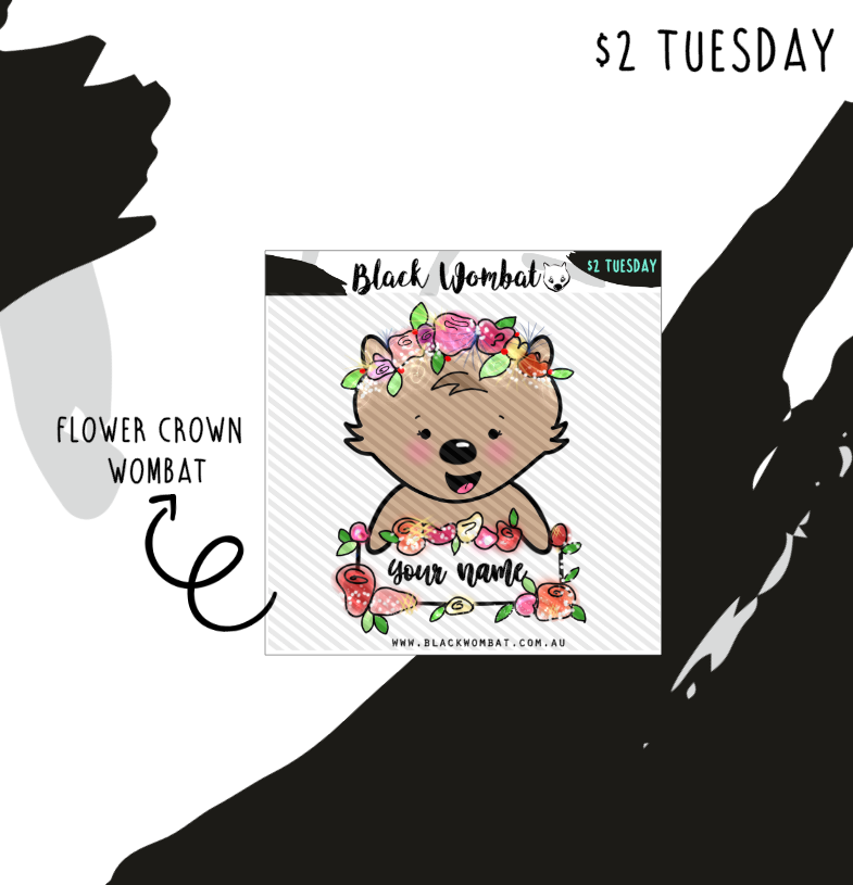 Personalised Flower Crown Wombat Planner Stickers