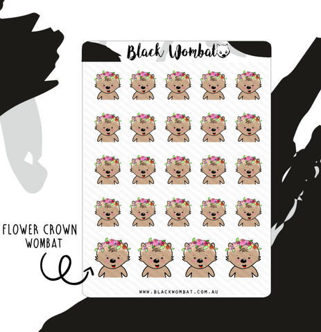 Flower Crown Wombat Planner Stickers
