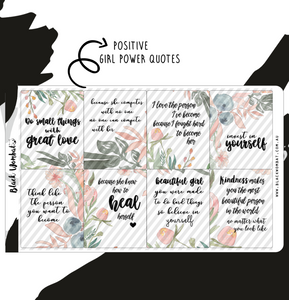 Positive Girl Power Quotes Box Planner Stickers
