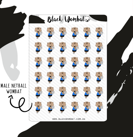 Male Netball Wombat Planner Stickers