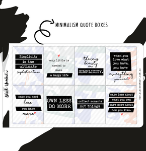 Minimalism Quotes Box Planner Stickers