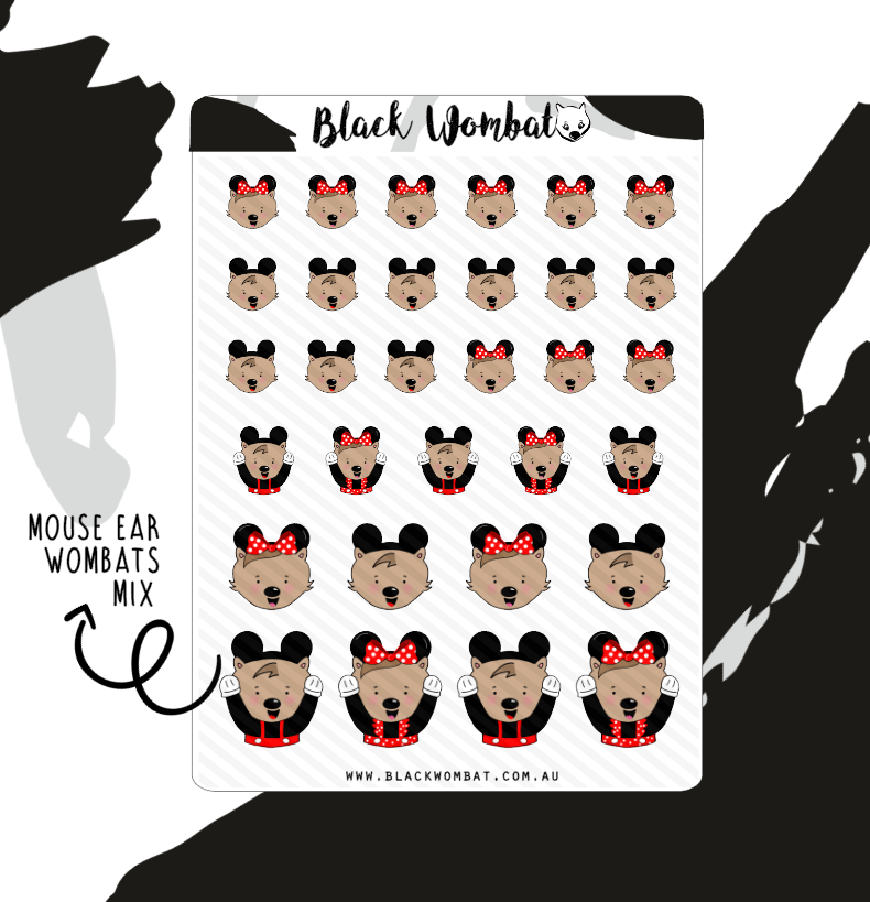 Mouse Ear Wombats Mix Planner Stickers