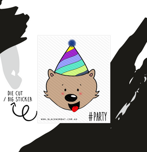 Party Hat Wombat Big Sticker / Die Cut