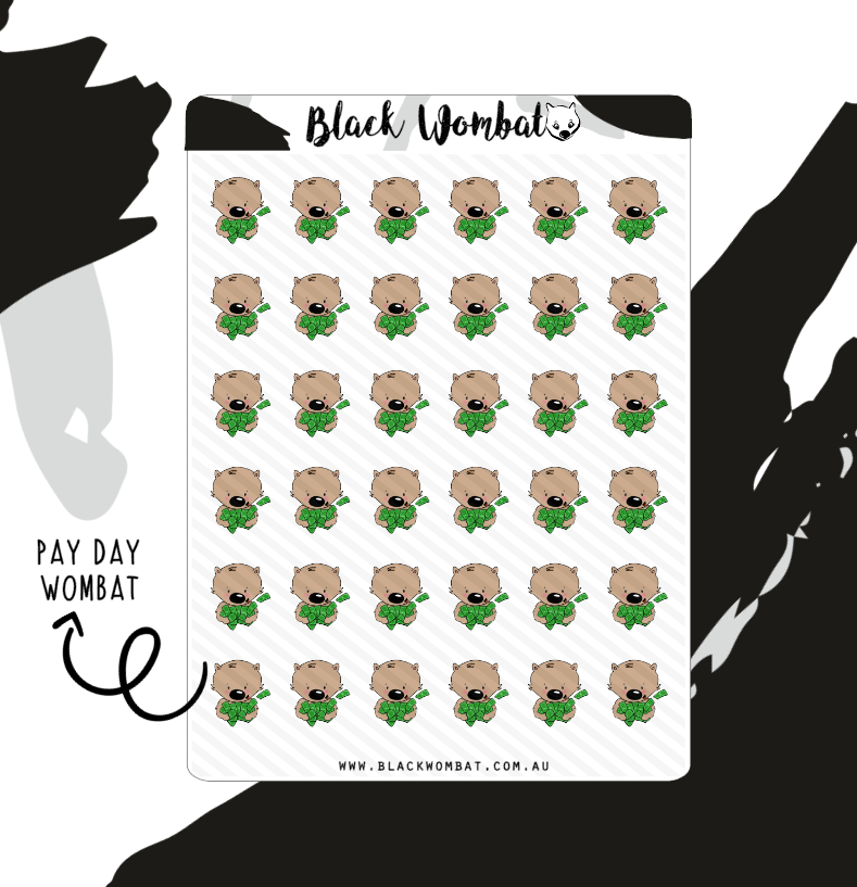 Pay Day Wombat Planner Stickers