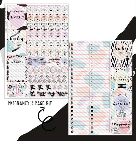 Pregnancy Abstract 4 Page Kit Planner Stickers