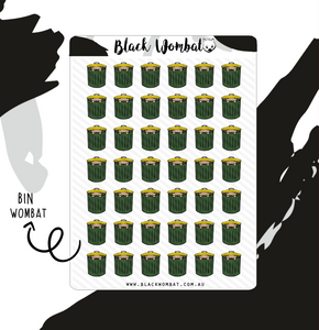 Bin day, Rubbish, Trash Wombat Planner Stickers