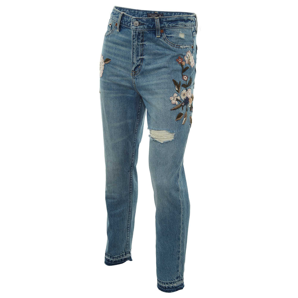 Abercrombie & Fitch High-rise Girlfriend Jeans With Floral Embroidery Womens Style : 155-555-1460