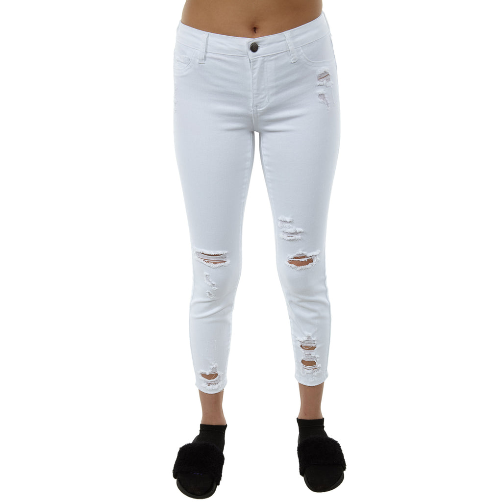 Cello Mid Rise Color Cropped Cutout Destroy Skinny Jeans Womens Style : Ab74422wh