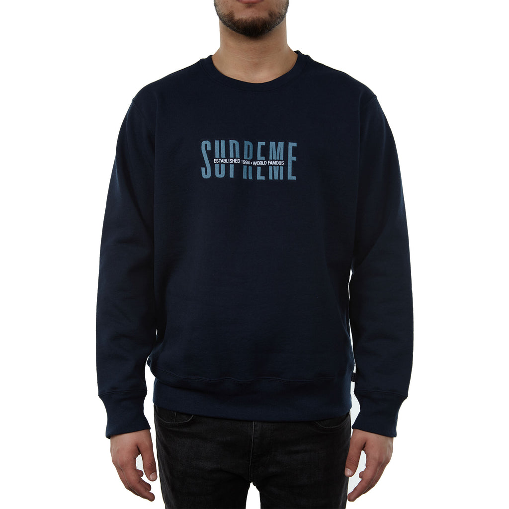 Supreme World Famous Crewneck Mens Style : Sup-wrldfmscrwnck-Navy