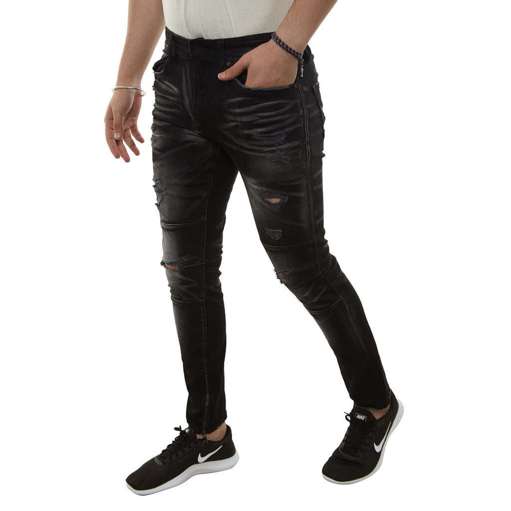 Jordan Craig Jeans With Zipper Mens Style : Jm3254-BLK