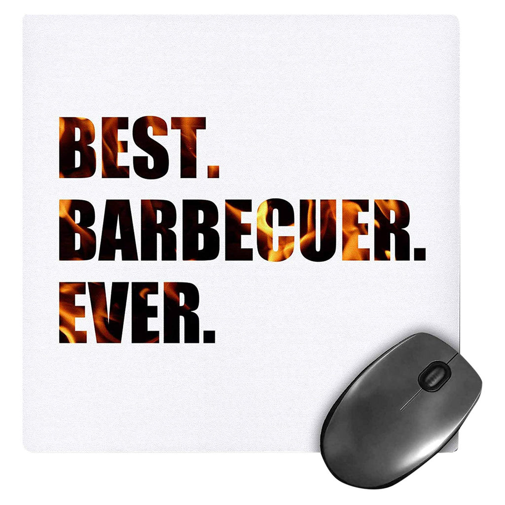 3dRose Best Barbecuer Ever - bbq grilling chef, barbecue grill king - Mouse Pad, 8x8 inches
