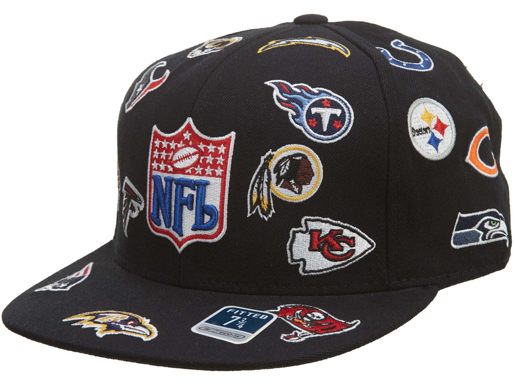 Reebok Nfl Collage All Over Team Embroiderred Fitted Hat Unisex Style : Hat810