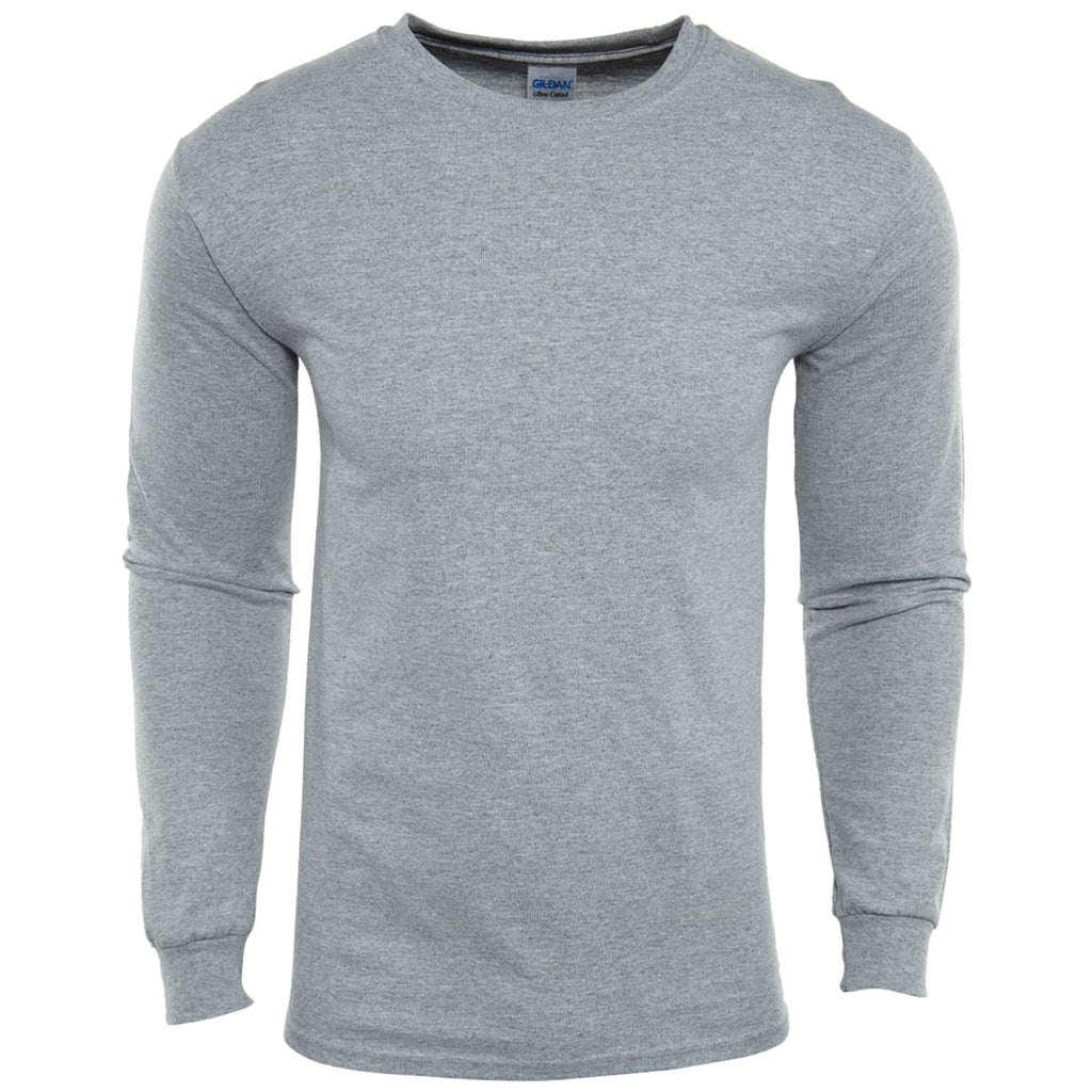 Gildan Ultra Cotton Long Sleeves Crewneck T-Shirt Mens Style : G2400
