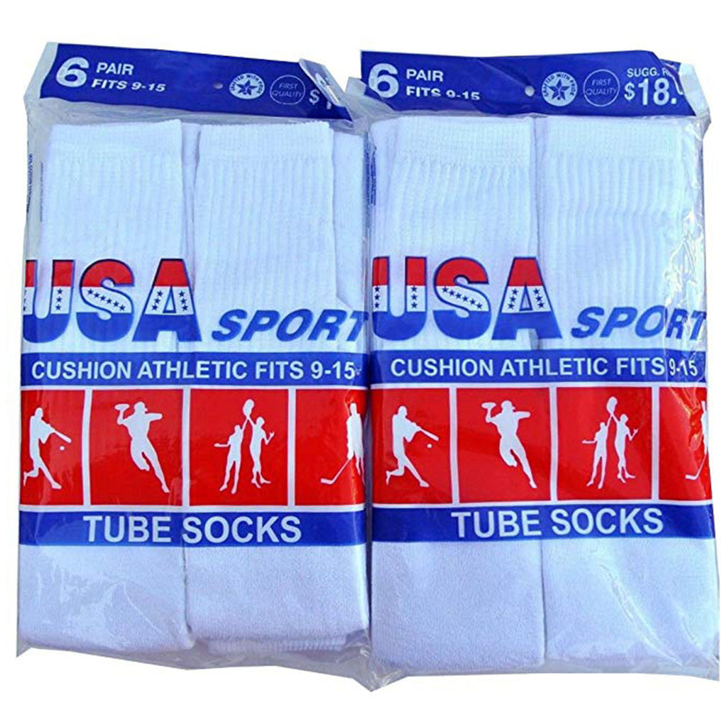 Usa Sport Cushion Athletic Tube Socks 6 Pairs Set Unisex Style : U001