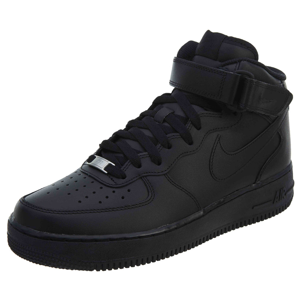 Nike Air Force 1 Mid Sneakers Black Leather  Mens Style :315123