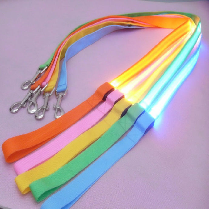 LED Leash Multi-Color, Red, Blue, Green, Orange, Yellow, Pink Light Safety Cool Tech Leash