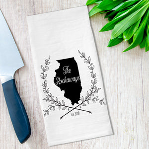 Personalized State and Name Tea Towel available at Viola Joyner Creative