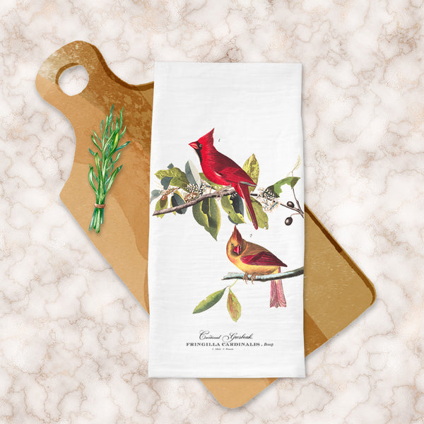 Tea Towels featuring Vintage Audubon Red Cardinals available at VJ Creative Lifestyle
