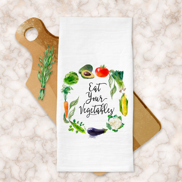 Eat Your Vegetables Tea Towel