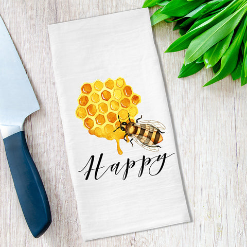 Honey Bee Happy Tea Towels available at VJ Creative Lifestyle