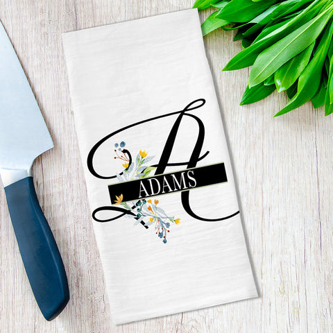 Monogrammed Floral Tea Towels available at VJ Creative Lifestyle