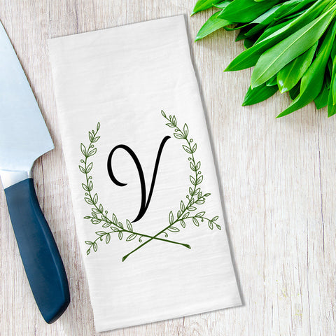 Monogrammed Tea Towel available at Viola Joyner Creative