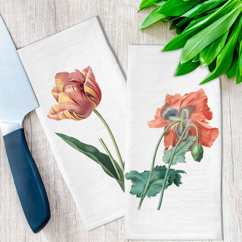 Tulip and Poppy Flower Tea Towels available at Viola Joyner Creative