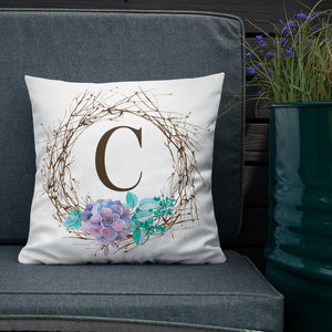 Monogrammed Succulent Throw Pillow available at VJ Creative Lifestyle