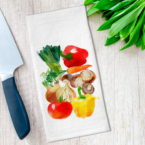 Watercolor Vegetables Tea Towel available at Viola Joyner Creative
