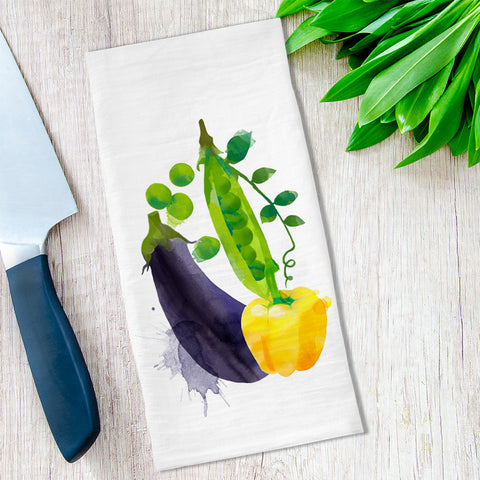 Eggplant Vegetables Tea Towel available at Viola Joyner Creative
