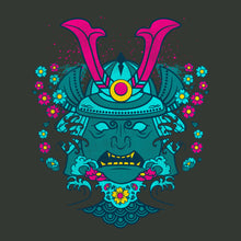 Samurai shogun in neon colors on gray background