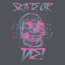 Skate or Die skull t-shirt design in pink and turquoise on gray