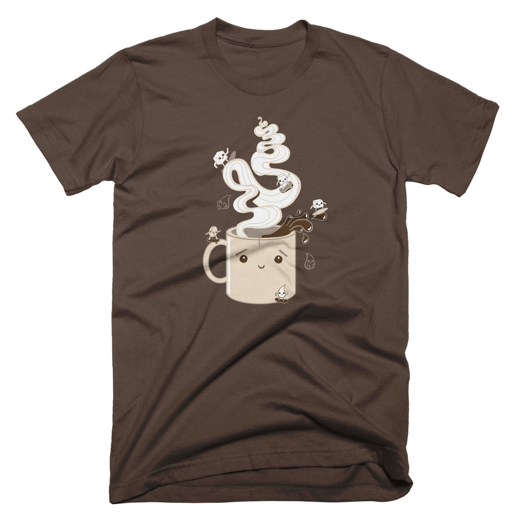 Dark brown t-shirt: Extreme Coffee graphic with marshmallows on skateboards and surfboards