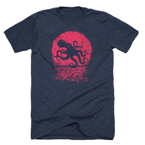 Kraken octopus sea creature t-shirt on navy blue