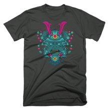 Neon Shogun samurai t-shirt design on charcoal gray
