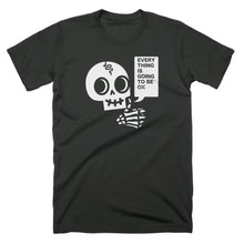 T-shirt design with a skull giving a thumbs up