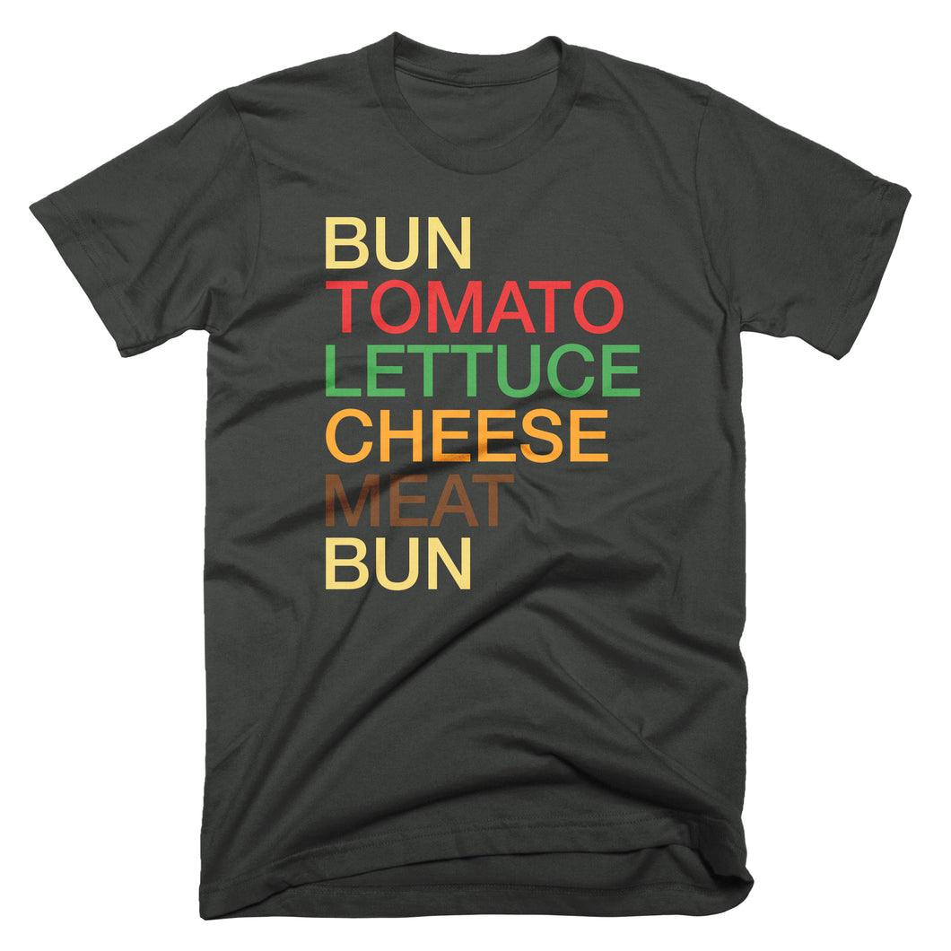 hamburger typography graphic t-shirt: bun, tomato, lettuce, cheese, meat, bun