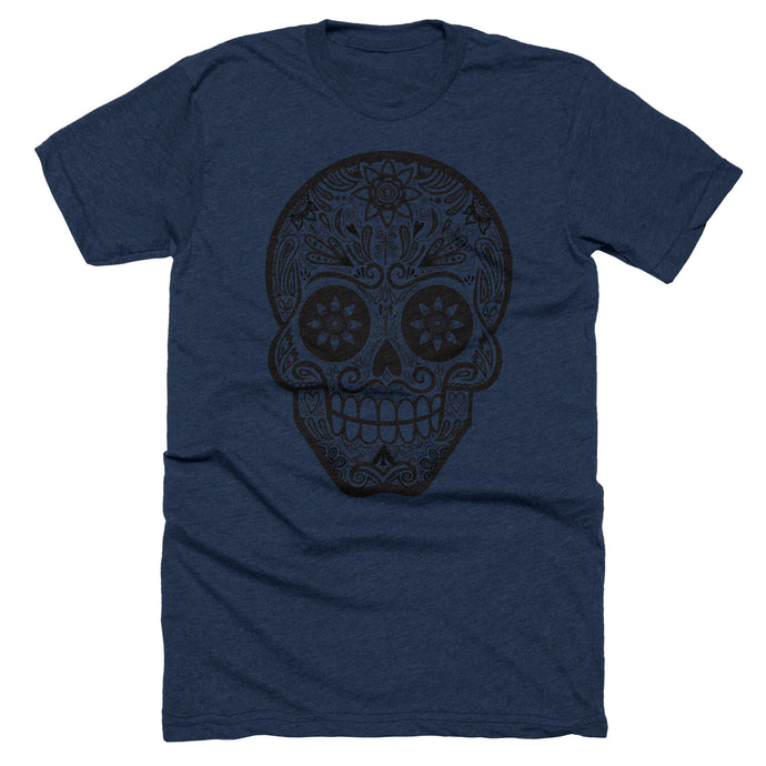 Navy blue heather t-shirt with a black calavera skull graphic