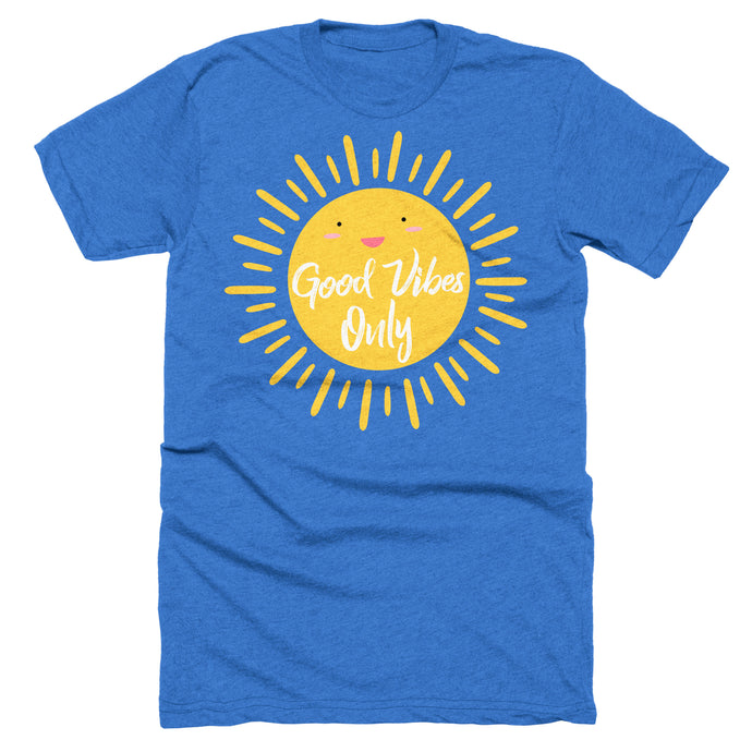 Good Vibes Only happy sun t-shirt on heather blue