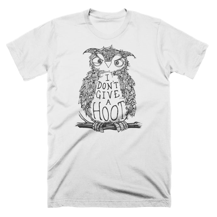 I Don't Give a Hoot t-shirt with a black and white cartoon grumpy owl.