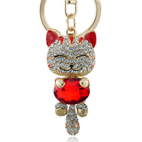 FREE! Get this Gorgeous Lucky Smile Cat Crystal Rhinestone Key Chains Holder, Absolutely Free, You only Pay Shipping and Handling