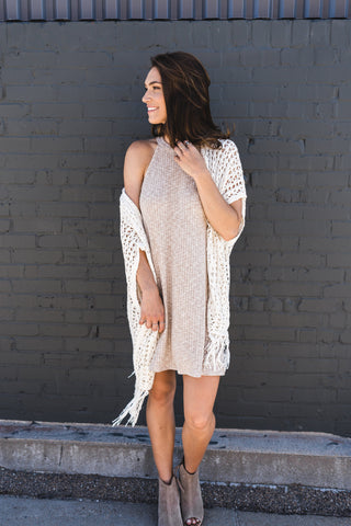 Cream Halter Shift Dress