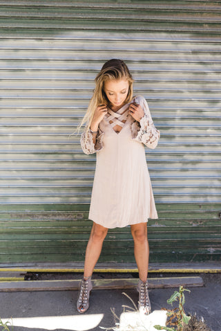 Latte Crochet Sleeve Shift Dress